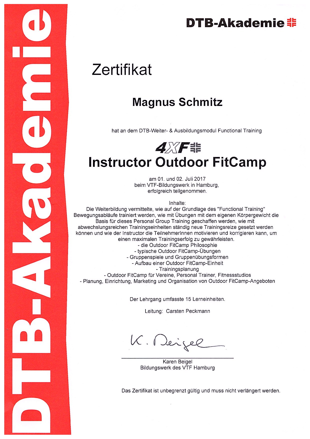 Zertifikat 4XF OutdoorFitcamp Instructor